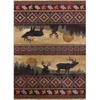 NTR6595 4x6 4 x 6 Small Red Lodge Area Rug - Nature