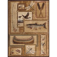 NTR6602 4x6 4 x 6 Small Ivory Lodge Area Rug - Nature