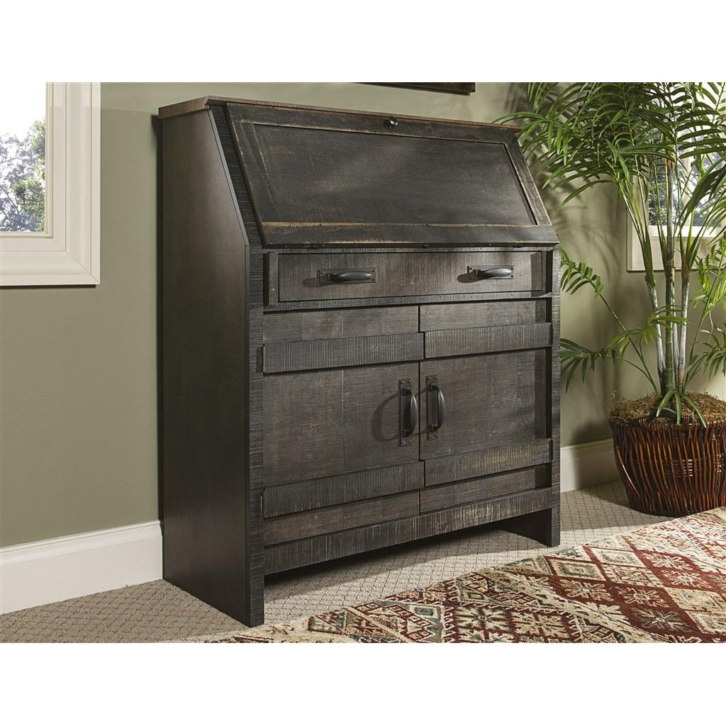 Descano Distressed Chocolate Brown Drop Lid Desk - Descano Distressed Antique Blue Drop Lid Desk RC Willey
