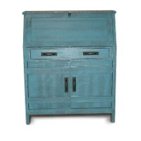Descano Distressed Antique Blue Drop Lid Desk