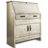 Descano Distressed Antique White Drop Lid Desk