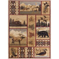 NTR6650 4x6 4 x 6 Small Brown Lodge Area Rug - Nature