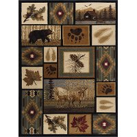 NTR6660 4x6 4 x 6 Small Brown Lodge Area Rug - Nature