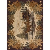 NTR6670 4x6 4 x 6 Small Brown Lodge Area Rug - Nature
