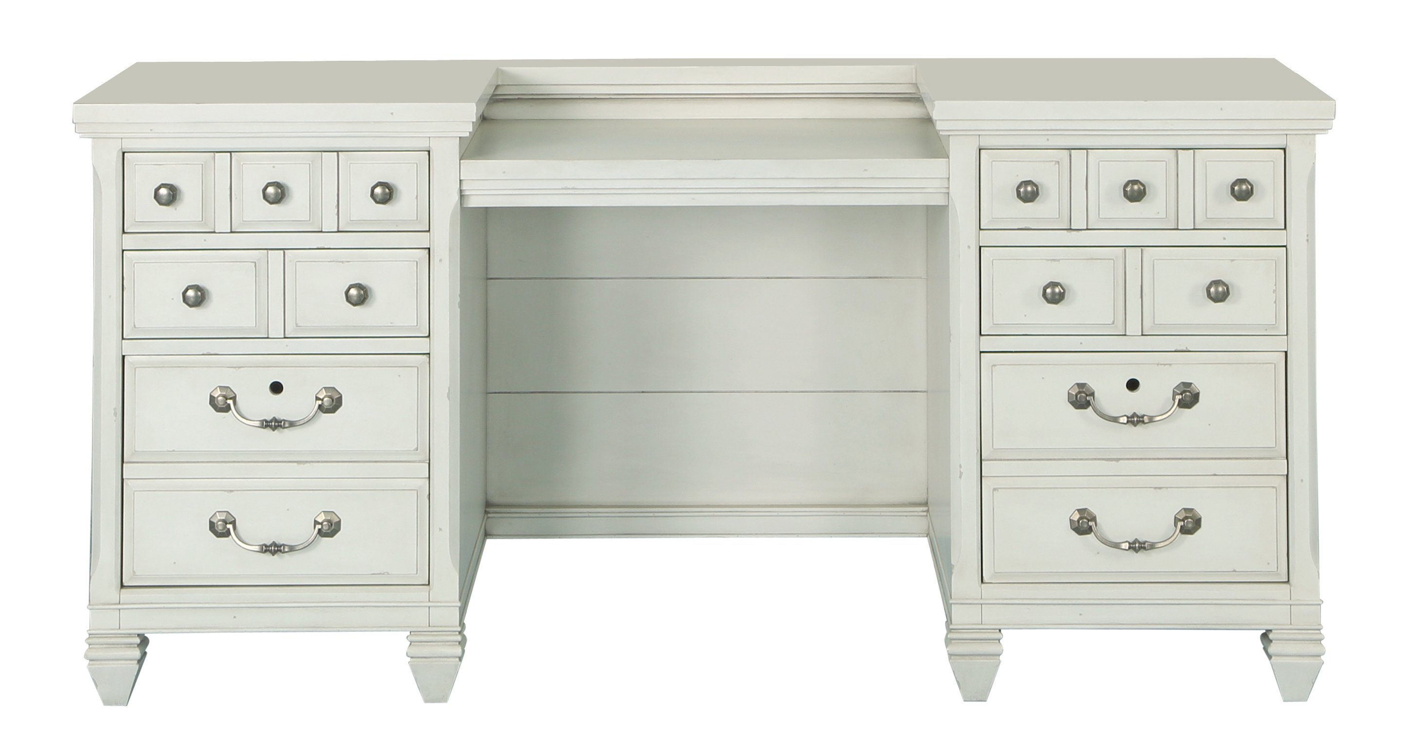 Antique white office desk and hutch hancock park rc willey furniture store - Antique white home office furniture ...