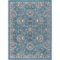KNS1119 5x8 5 x 7 Medium Aqua, Gray & Navy Area Rug - Kensington