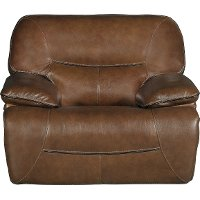 Bramble Brown Leather-Match Power Glider Recliner - Max
