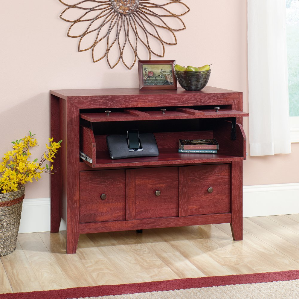 Sauder rustic red tv stand dakota pass rc willey furniture store geotapseo Image collections