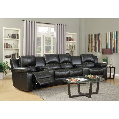 Slate Gray 6 Piece Leather Match Home Theater Seating   Stern