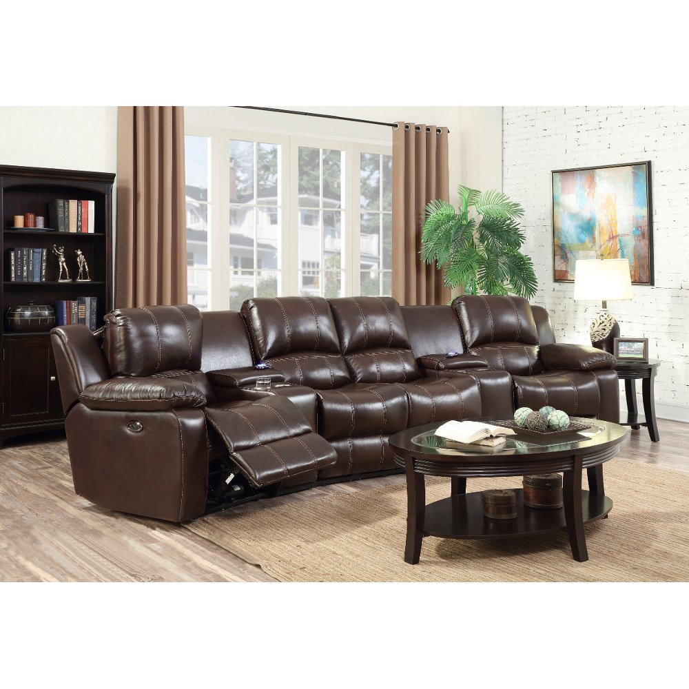 Brown 6-Piece Power Reclining Sectional - CaseySave $200209999 Molasses Brown 6-Piece Leather-Match Home Theater Seating - Stern ...  sc 1 st  RC Willey & Reclining sectional u0026 leather reclining sectional | RC Willey ... islam-shia.org