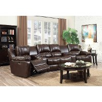 Molasses Brown 6 Piece Leather-Match Home Theater Seating - Stern