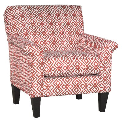 Casual Contemporary Red Diamond Pattern Accent Chair   Naomi