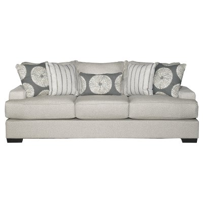 Casual Contemporary Flax Gray Sofa - Raven