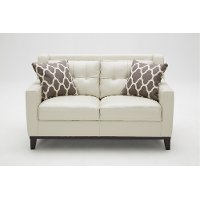 Contemporary Taupe Leather Loveseat - Nigel