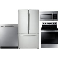 KIT Samsung 4 Piece Electric Kitchen Appliance Package with French Door Refrigerator - Stainless Steel
