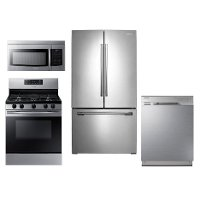 KIT Samsung 4 Piece Gas Kitchen Appliance Package with French Door Refrigerator - Stainless Steel