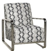 Gray and Silver Modern Accent Chair