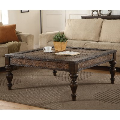 Weathered Oak Brown Square Coffee Table   Bordeaux