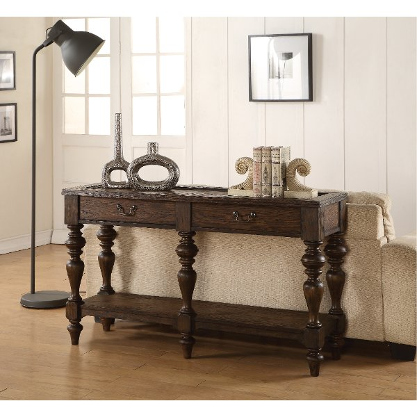 ... Weathered Oak Brown Sofa Table   Bordeaux