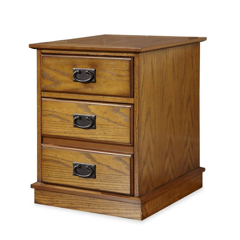 Oak 2 Drawer Mobile File Cabinet- Modern Craftsman