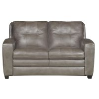 Modern Contemporary Bronze Leather Loveseat - Roland