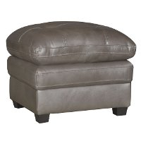 Modern Contemporary Bronze Leather Ottoman - Roland
