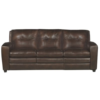 Modern Contemporary Mahogany Leather Sofa - Roland | Rc Willey