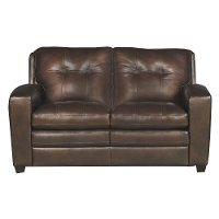 Modern Contemporary Mahogany Brown Leather Loveseat - Roland