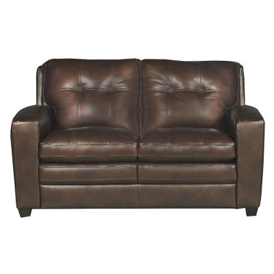 Captivating Modern Contemporary Mahogany Brown Leather Loveseat   Roland
