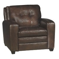 Modern Contemporary Mahogany Brown Leather Chair - Roland