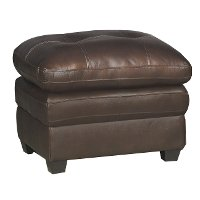 Modern Contemporary Mahogany Brown Leather Ottoman - Roland