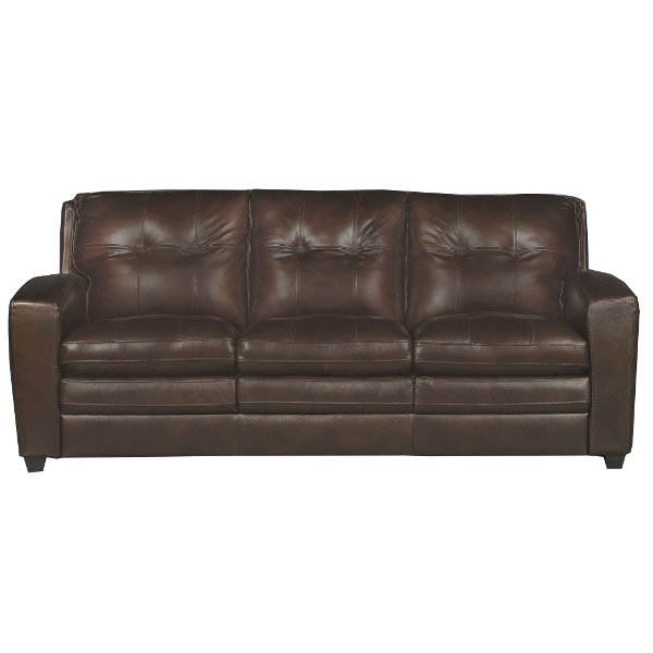 Modern Contemporary Mahogany Brown Leather Sofa Bed Roland