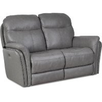 Gray Leather-Match Power Reclining Loveseat - Graham