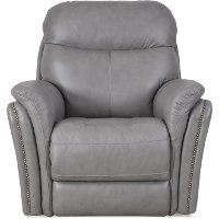 Gray Leather-Match Power Recliner - Graham