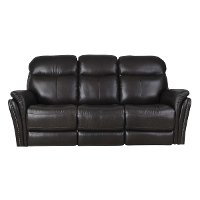 Walnut Brown Leather-Match Power Reclining Sofa - Graham