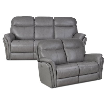 Gray LeatherMatch Power Reclining Sofa Loveseat Graham RC