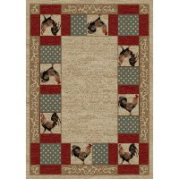 5 x 7 Medium Ivory and Red Barnyard Area Rug - American Destinations