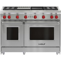 GR484CG-LP Wolf 48 Inch LP Gas Range with Charbroiler and Griddle - Stainless Steel