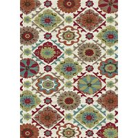 5 x 7 Medium Cream, Red, and Teal Area Rug - Brighton