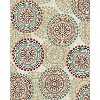 8 x 10 Large Ivory, Teal & Red Area Rug - Brookwood