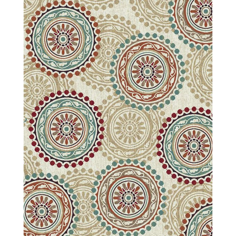 8 X 10 Large Ivory Teal And Red Area Rug Brookwood
