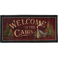 2 x 4 X-Small Welcome To The Cabin Red Area Rug - Cozy Cabin