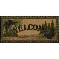 2 x 4 X-Small Forest Welcome Ivory & Green Area Rug - Cozy Cabin