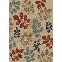 5 x 7 Medium Leaves of Color Ivory, Red, and Blue Rug - Timeless