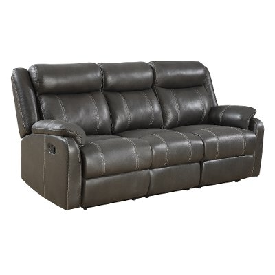 Valor Carbon Black Dual Reclining Sofa