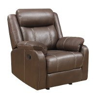 Valor Chocolate Brown Gliding Recliner - Domino