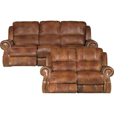 Brown Leather Match Power Reclining Living Room Set   Nailhead