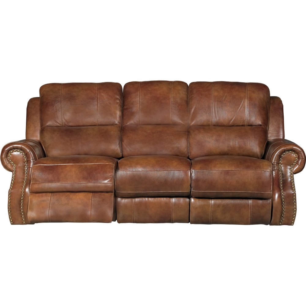 Chestnut Brown Leather Match Manual Dual Reclining Sofa   Nailhead | RC  Willey Furniture Store