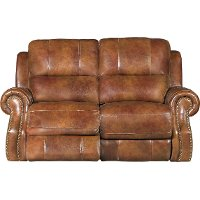 Chestnut Brown Leather-Match Manual Reclining Loveseat - Nailhead