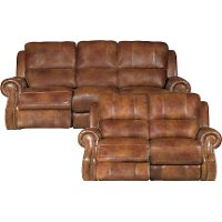 Chestnut Brown Leather-Match Manual Reclining Sofa & Loveseat - Nailhead